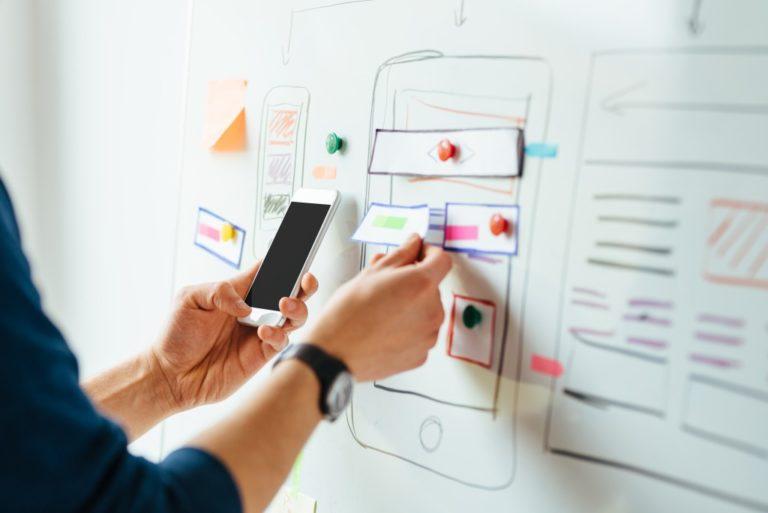 Web designer working on a mobile app