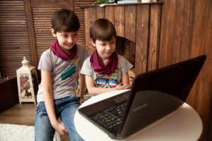 Kids using laptop for learning