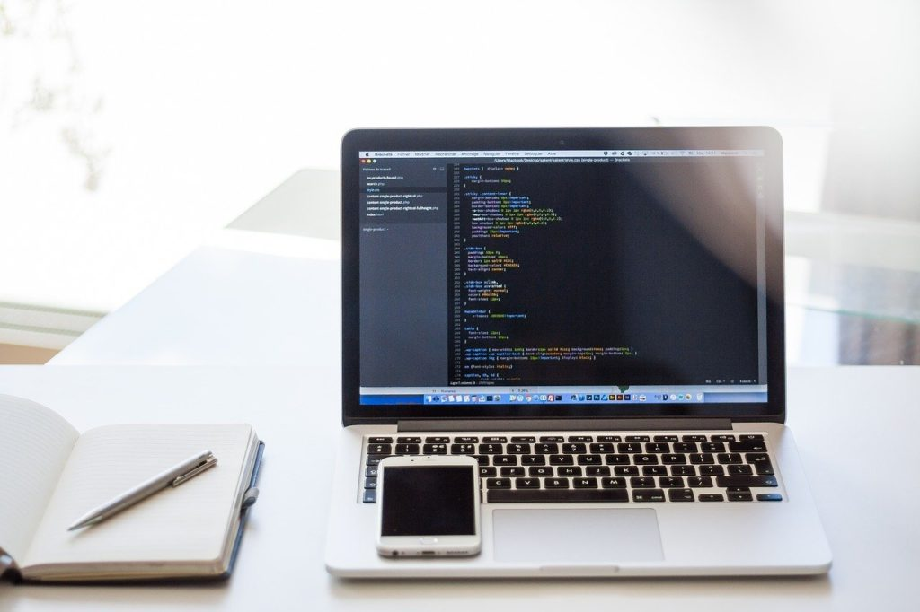 laptop being used for coding