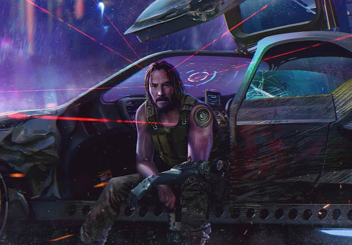 Cyberpunk 2077 - Johnny Silverhand riding a car