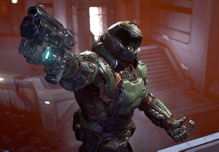 Doom Slayer with a pistol
